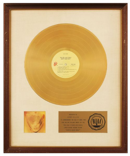 GOLD GOATS: Mounted RAA gold record for '73's