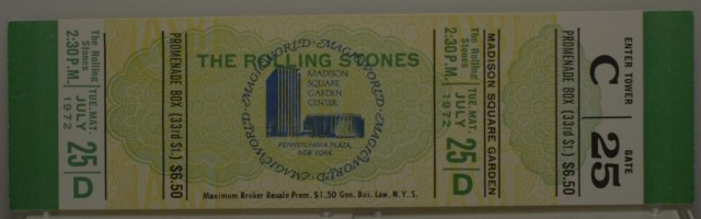 From my personal collection, an unused ticket for the second of the Stones' three-night stand at MSG, on their iconic '72 U.S. tour. From the archive of a ticket manufacturer affiliated with MSG's box office.
