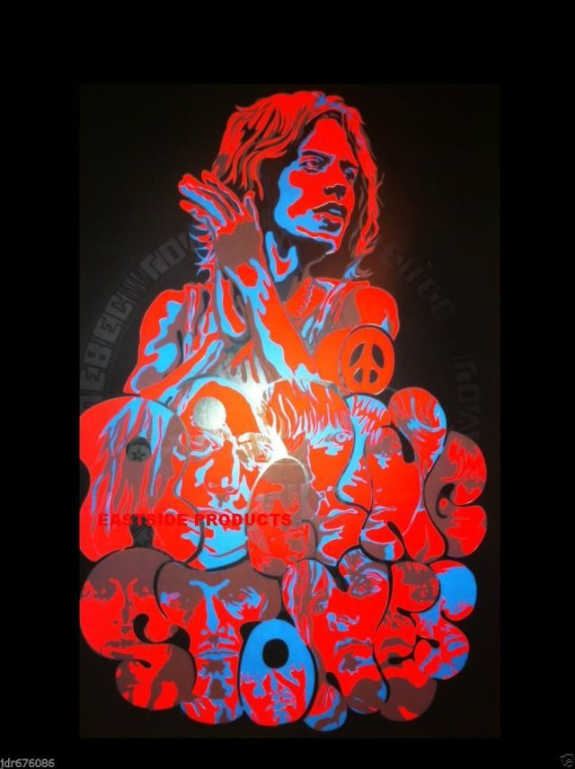 PAINT IT BLACK (LIGHT): Original black light poster, presumably dating from '69-'71 (with a Hyde Park-era Mick on top).