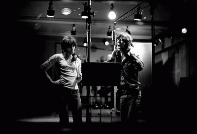 The soon-to-be Glimmer Twins recording vocals at Sunset Sound studios, early 1972. Photograph by the great Jim Marshall. One of my favorite portraits of these two together and at work.