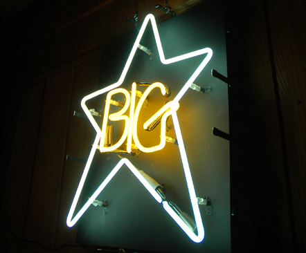"Neon Star: Another angle of the icon, shared and saved from the official Facebook page for the ""Nothing Can Hurt Me"" documentary. Also believe this image was used for an early '90s CD-two-fer-reissue of ""#1 Record"" and ""Radio City."""