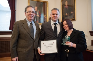 A+ IS FOR AMANDA: Our gal Amanda Nichols receives a community service award for her work with Crash Safely; she's joined by fellow rocker Gene Dante and Jeffrey S. Flier, Dean of the Faculty of Medicine at Harvard University (he may rock too for all we know!)
