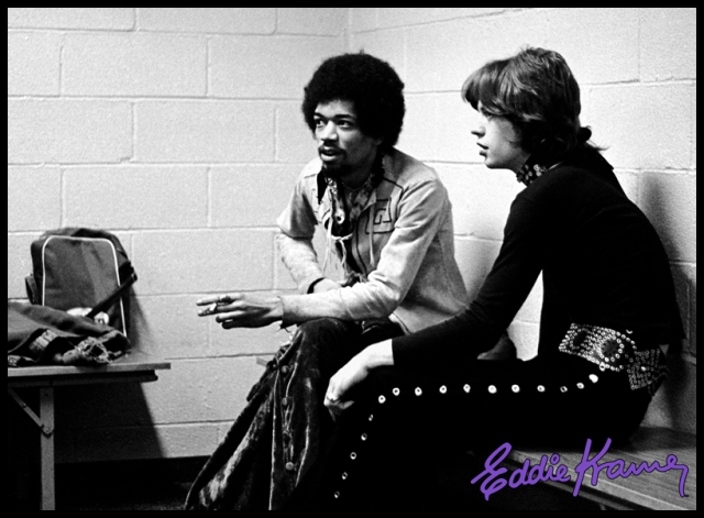 Jimi and Jagger: Two rock & roll titans backstage at Madison Square Garden, 1969, where the Stones were performing. Jimi rang up Eddie Kramer and invited him to tag along. Good thing Eddie brought his camera! Photo courtesy Eddie Kramer Archvies (go to(http://eddiekramerarchives.com) to see the photos taken that night and much more