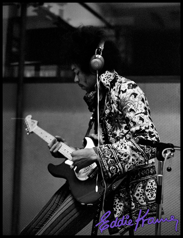 Jimi Jamming and at work in the studio. Photo courtesy Eddie Kramer Archives