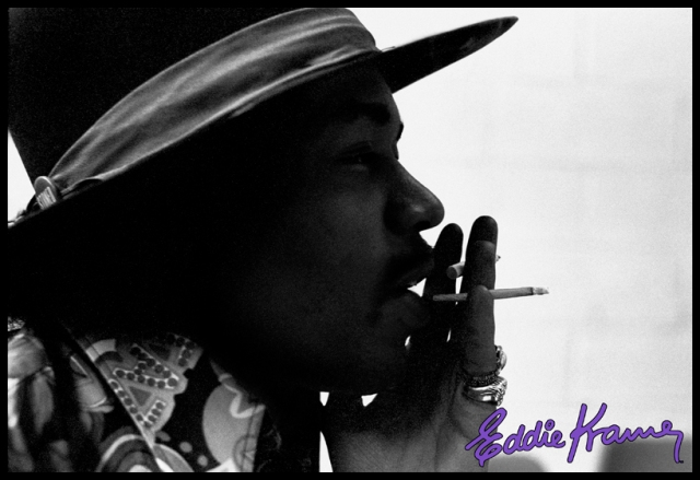 Stereophonic Smoking: Here's a cool shot Eddie Kramer took of Jimi two-fisting it in the studio with both cigarette and ciggie of the herbal variety. Inspiration comes from everywhere! Photo courtesy of the Eddie Kramer Archives
