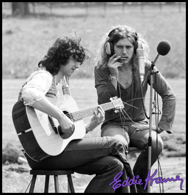 Page and Plant: Eddie Kramer's work with Led Zeppelin also extended behind the lens as well as behind the boards. Here's Zep guitarist Jimmy Page working out a song with singer Robert Plant at the Rolling Stones Mobile Recording Studio at Stargroves, Stones singer Mick Jagger's home (well, one of them anyway!). Photo kind courtesy of the Eddie Kramer Archives