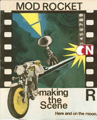 """Mod Rocket"": One of my favorite examples of one of Bob's many cool collages he regularly compiles into his self-published ""EAT"" periodical of art, poems, stories, and lyrics."