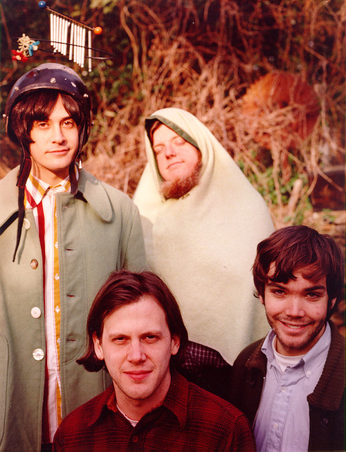 Getting ready to fly the Aeroplane: Neutral Milk Hotel in a press/publicity still  circa 1998 (Jeff Mangum piloting front and center)