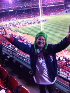 Me at Fenway Park, moments after the Boston Red Sox staged a dramatic, come-from-behind rally to beat the Detroit Tigers to clnch the American League Pennant and became A.L. 2013 Champions! (Green Wally Rally Cap NOT optional attire for these series!)