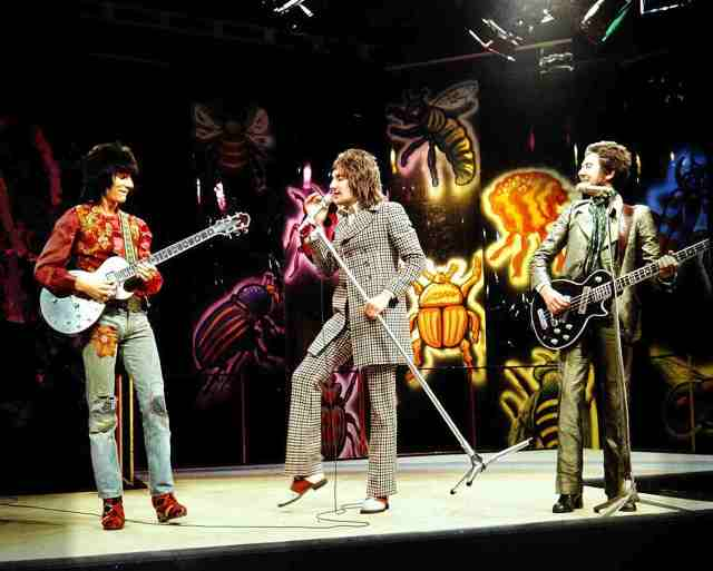 The Faces onstage recording a concert for the BBC, early 1970s.