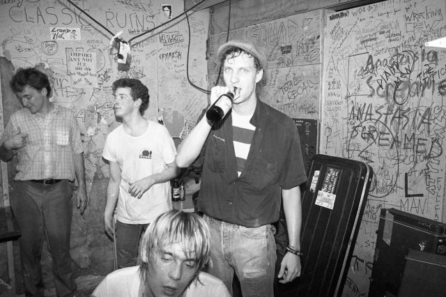 Charlie's thirsty after (or is that before?) the gig with Scruffy The Cat, somewhere in the '80s