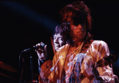 Two-headed hydra: Mick and Keith on stage in America, summer 1972. Photo by the great Jim Marshall