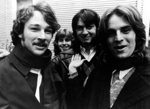 "Chris (on left) in happier times during a photo shoot to publicize ""#1 Record."" Jody Stephens, Andy Hummel, and Alex Chilton (L-R) round out the lineup"