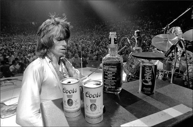 Keith's pals Coors, Jack, and Coke keep his amp hydrated.