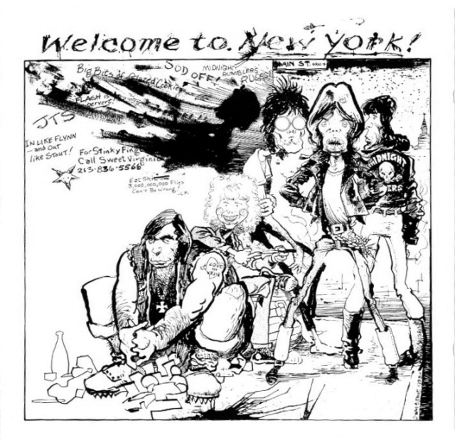 "STREET THUG STONES: Back in the '70s, the legendary illustrator William Stout did the cover art for many iconic bootleg LPs (thus making them even more iconic). One of my faves is ""Welcome To New York,"" which captured Taylor and the Stones at Madison Square Garden on Mick Jagger's birthday, July 26, 1972. As incredible as it looks, folks!"