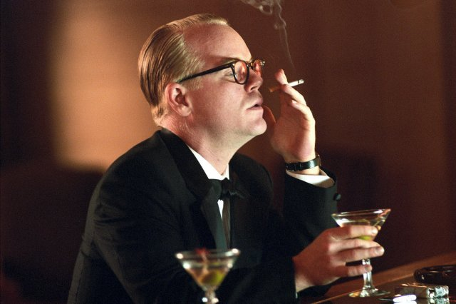 "Hoffman in his Oscar-winning portraying of author Truman Capote in ""Capote"""""