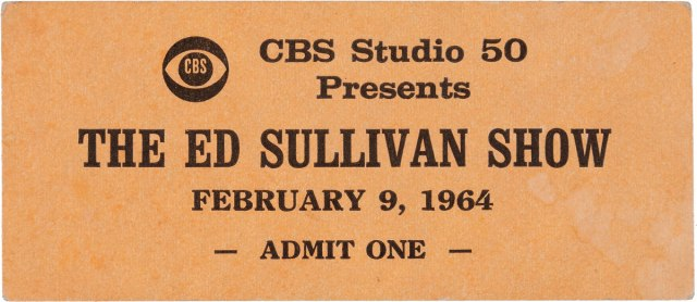 unused VIP ticket to a taping of The Ed Sullivan Show