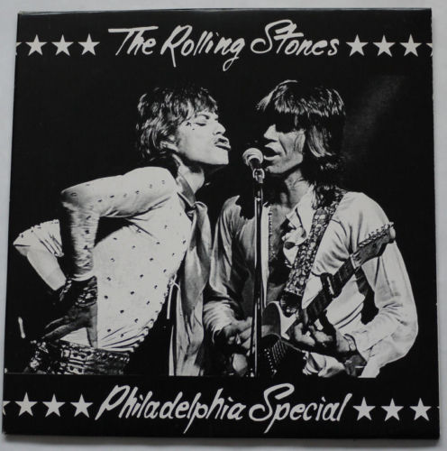 Philly Cheesteak with hots: One of the most iconic unofficial recordings capturing the Stones in Philadelphia, June 1972. This double-LP had a gatefold cover, delectable artwork, and was pressed in several varieties of colored and splattered wax. The RSVP label put this out and both art and title was later copied by other notables including the Swingin' Pig etc.