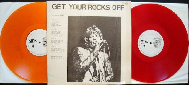 Rocks Off/Rock On: Another iconic, and highly sought after, double LP of the Stones' stand at the L.A. Forum. Different colored wax pressings exist, as does the black vinyl press of this baby. Sound is only decent, but the cover shot and color vinyl make this a must-have!