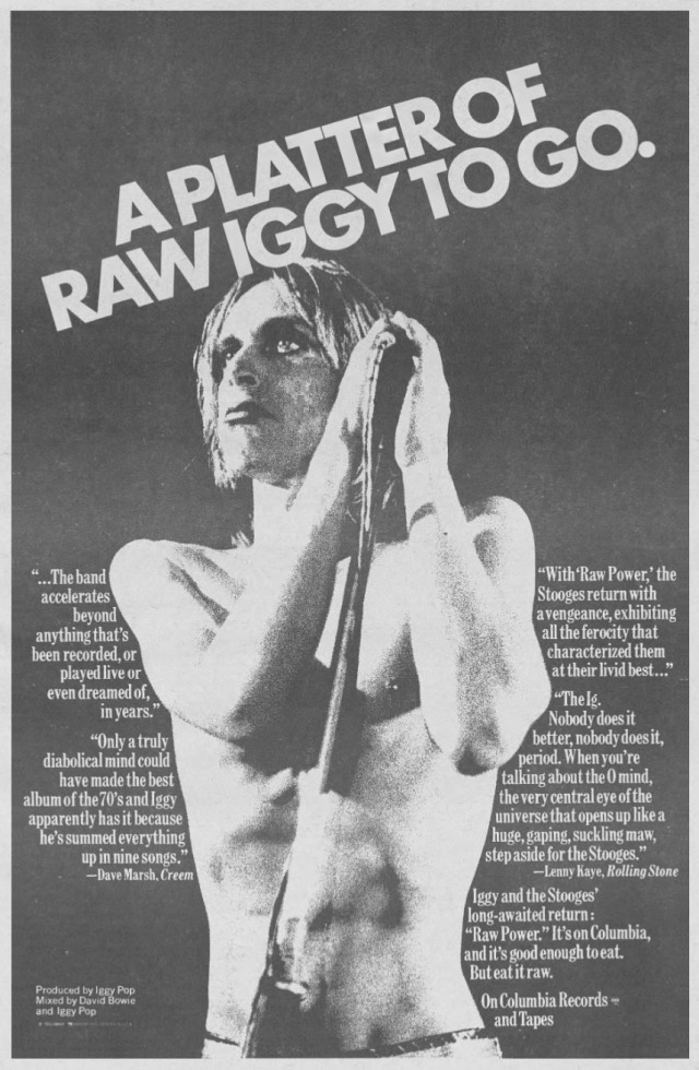 "Vintage campaign ad for ""Raw Power,"" 1973."