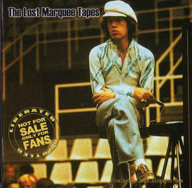 Like a true pro, Mick surveys the room for sound and sightlines, 1971. Artwork for another unofficial CD title.