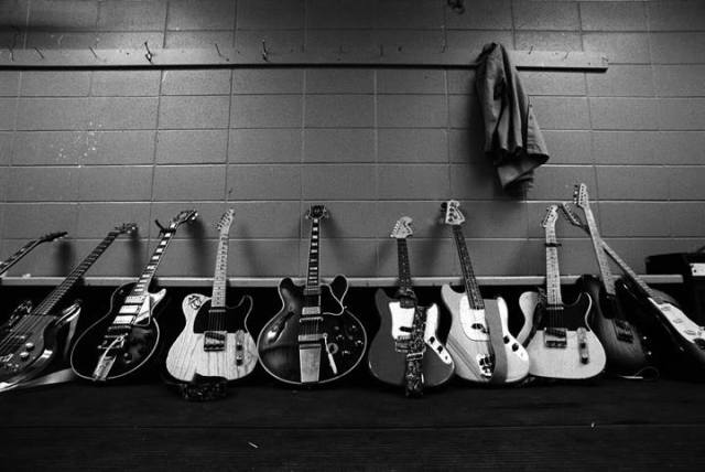 TOOLS OF THE TRADE: Stones guitars and gear backstage at Vancouver, 1972.