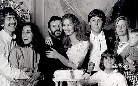 Who snagged the beautiful Bond girl? Why, Ringo of course! The ladies love drummers, as evidenced by this shot taken at Ringo and Barbara's wedding, 1981. You just may recognize the wedding party.