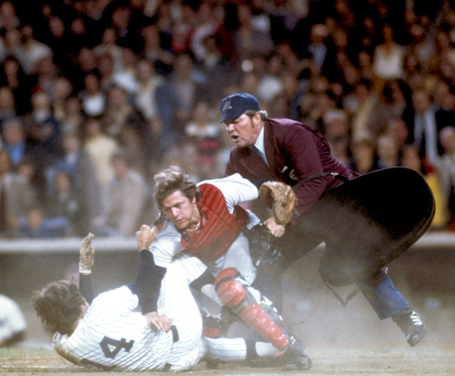 Pinella vs. Pudge: The awesome Neil Leifer photograph of the collision that began the best brawl of '76 (and, unfortunately, the worst news for pitcher Bill Lee, who's arm was yanked and severely injured by the Yankees' Graig Nettles during the fight). The image ran on the cover of Sports Illustrated at the end of May '76, when the limping Red Sox were indeed sputtering (as the cover described them), Fisk was contemplating free agency and being blamed -- along with fellow contract holdouts shortstop Rick Burleson and star centerfielder Fred Lynn -- for Boston's woes.