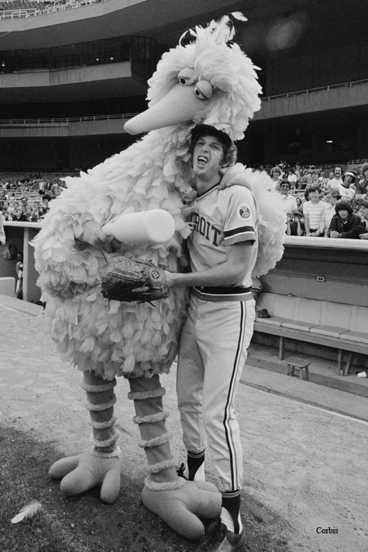 The Bird about to lay more goose eggs with Big Bird, 1976.