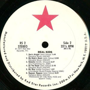 Original Red Star Records labels for the '78 debut