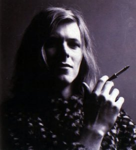 "Debonair David (did we ever have any doubt?) strikes a pose circa ""Hunky Dory,"" 1971."