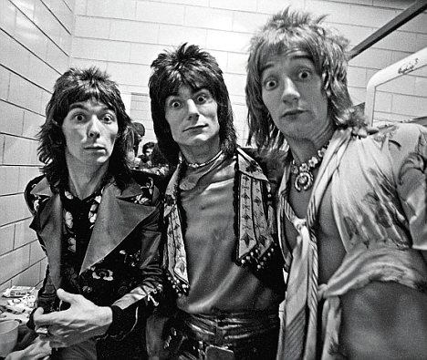 Such a serious bunch: The Faces making faces. L-R: Mac, Ronnie Wood, Rod Stewart