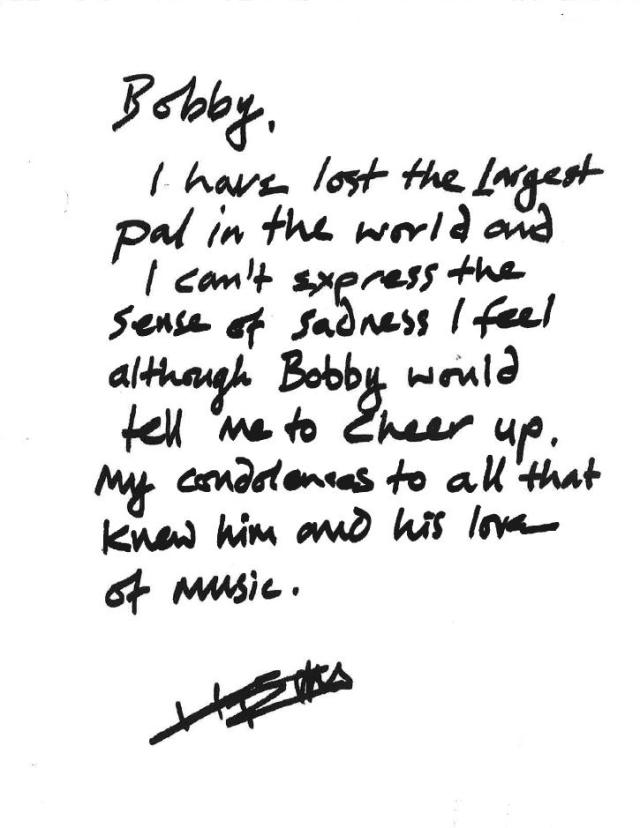 Keith Richards' hand-written note about Bobby's death, posted to his twitter account this week.