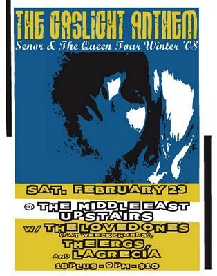 Flier/poster for the Gaslight Anthem's gig at the Middle east, Cambridge, Massachusetts, 2008.