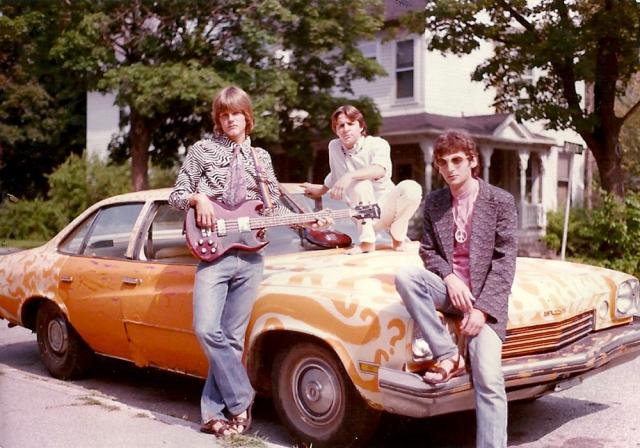 The Prefab Messiahs get to the gig via mentor/friend Bobb Trimble's psychedelic car, 1982