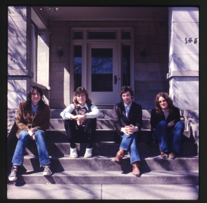 "Photo session, presumably for ""#1 Record."" Also used as the cover photo for the wonderful Rhino box set, ""Keep An Eye On The Sky."" L-R: Andy Hummel, Jody Stephens, Chris Bell, Alex Chilton."