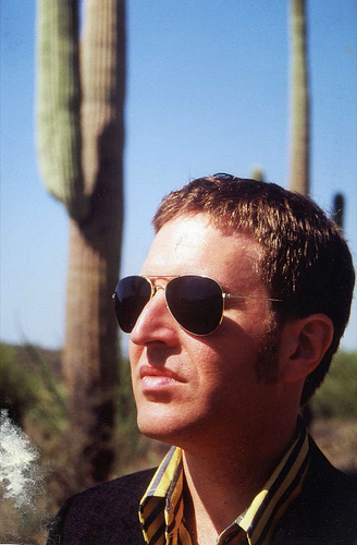 "Steve Wynn ponders life among the cacti, photo shoot for ""Here Come The Miracles."""