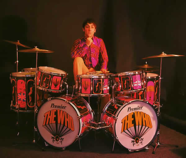 Keith Moon builds a Premier fort of drums, circa 1967.