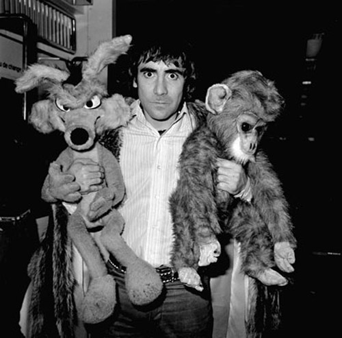 Keith Moon with his carry-on luggage at Heathrow Airport.