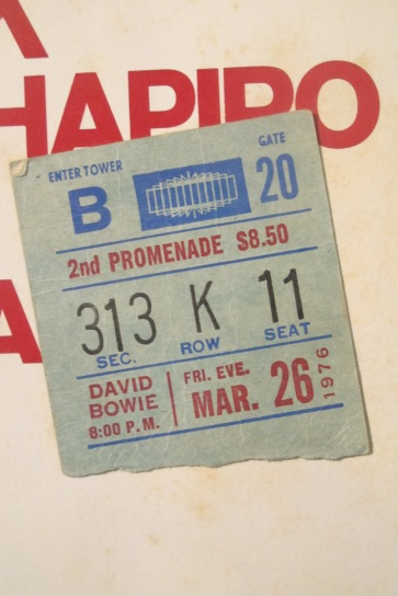 original 1976 concert ticket stub discovered glued to inner sleeve inside of copy of Station To Station