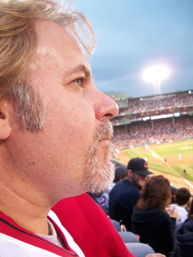 Gazing out at the scenery and bonding with my 'Fear The Beard' at Fenway for Game 2 of the American League Division series versus the Tampa Bay Rays. Thanks to my good friend Judy Kelliher for snapping this shot while my mind was elsewhere.