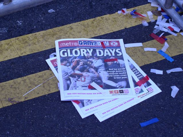 Red Sox Victory Parade 2007 detritus along Massachusetts Avenue. No, I did not arrange these newspapers for my photo.