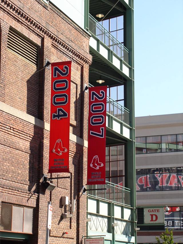 The newest additions to the Red Sox world championship banners at Fenway park, shot by me the morning after the '07 win.