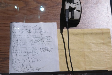 "Mick's headphones and handwritten lyrics to Some Girls' ""Faraway Eyes"""