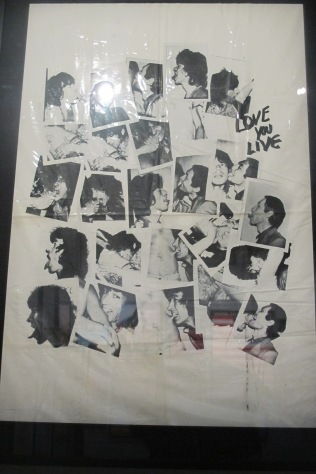 The vinyl Andy Warhol tablecloth that festooned the 'Love You Live' LP launch party.
